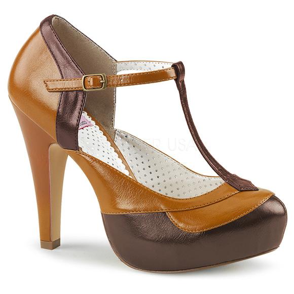 c70b21a7627 Pin Up Shoes Platform T-Strap High Heels Brown Tan NWT